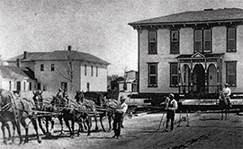 old photo of moving a home